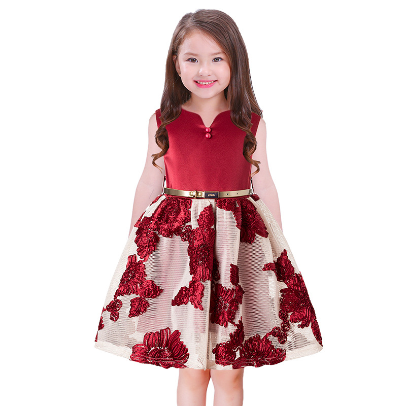 Girls Flowers Lace summer dress for Birthday party and wedding Prom Princess Clothes Kids frock designs With belt 2 4 6 8 10 Yrs 2017 girls princess dresses kids bridesmaids clothes long dress children red prom dress for party and wedding 4 5 6 7 8 9 10 yrs