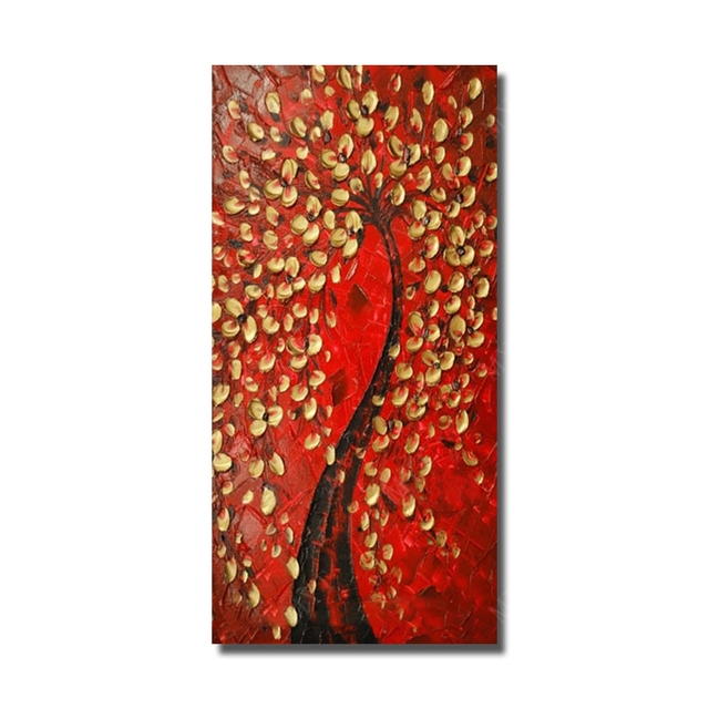 Free Shipping 100%hand-painted Oil Painting Beautiful Flower Tree Home Decoration Pictures For Living Room Wall No Framed