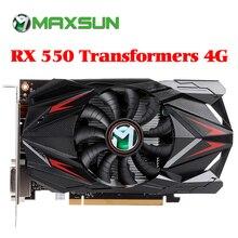 MAXSUN видеокарта Redon RX 550 grafik kartı 4G GDDR5 6000MHz 128bit 1183MHz PWM DirectX 12 HDMI + DP + DVI 512 ünite RX550 ekran kartı