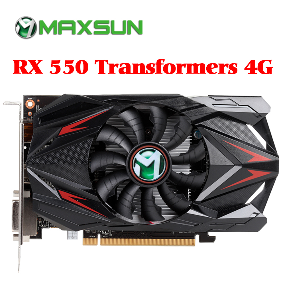 US $70 85 38% OFF|MAXSUN Redon RX 550 graphic card 4G GDDR5 6000MHz 128bit  1183MHz PWM DirectX 12 HDMI+DP+DVI 512unit RX550 video card for desktop-in