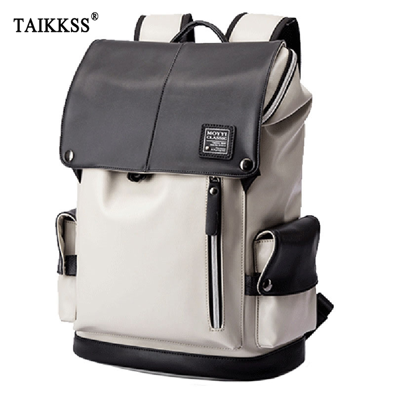 Man Backpack PU Leather USB Recharging Laptop School BaG Male Waterproof Travel Multi color backpack Fashion Casual Quality Bag