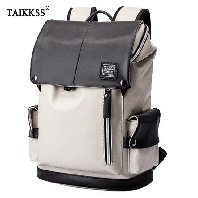 กระเป๋าเป้สะพายหลัง PU หนัง USB ชาร์จแล็ปท็อปกระเป๋าชายกันน้ำ Travel กระเป๋าเป้สะพายหลังแฟชั่นสบายๆคุณภาพกระเป๋า
