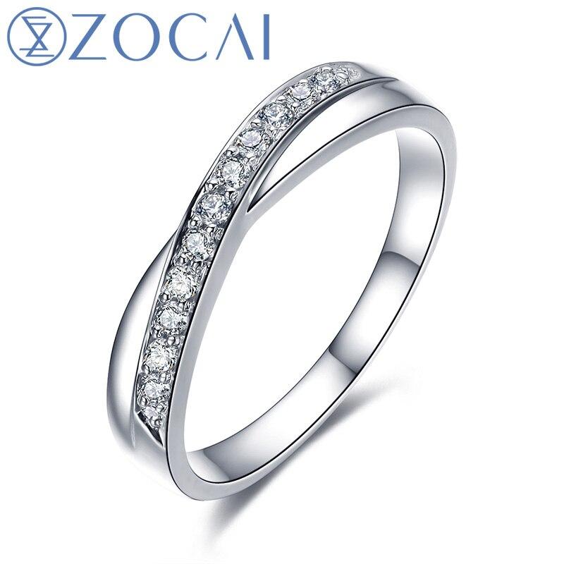 ZOCAI amour rencontre naturel 0.12 CT certifié I-J/SI diamant alliance anneau rond coupe 18 K or blanc bijoux Q00440A