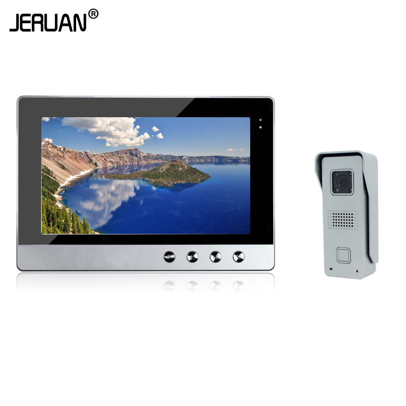 JERUAN Brand New Wired 10`` color Screen Video Intercom Door Phone System + 1 Monitor + Metal Night Vision Outdoor Camera jeruan wired 8 inch tft color screen video door phone record intercom system 4 monitor full metal ir night vision camera