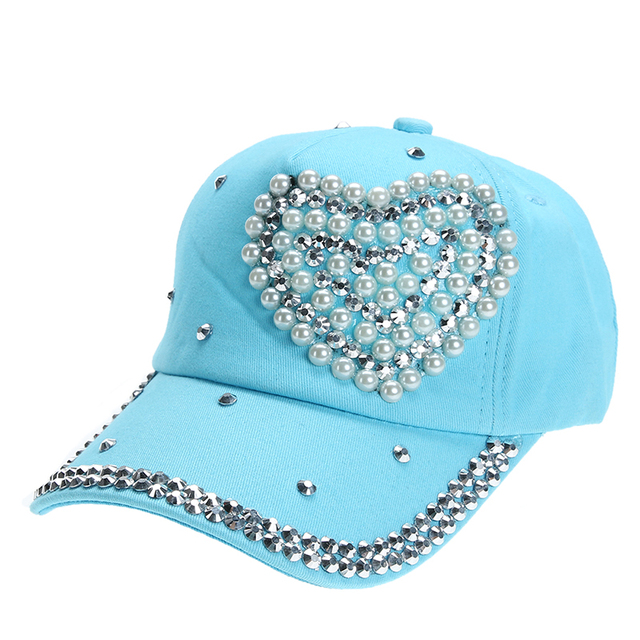 Rhinestone Baseball Cap Lady Children Girl Women Heart Shape Bling Bling  Diamond Hat Gorras Snapback Hip cdb5e73b365