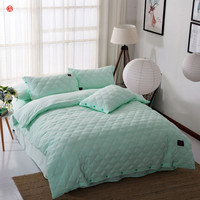 Home Textile Quilt Duvet Cover Set Green Solid Bedding Sets Wash Polyester Cotton Queen King Size