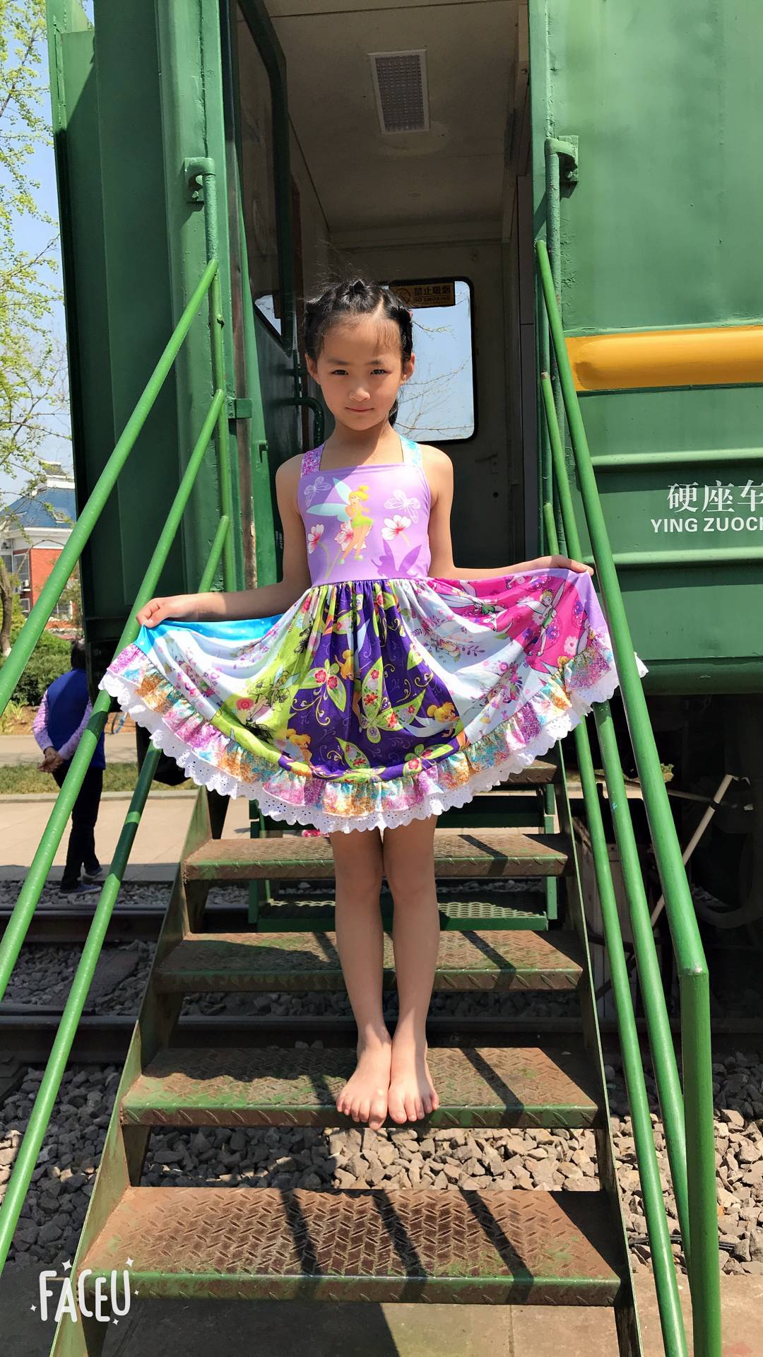 new fashion children's wear faerie pattern with lace girls sassy dress(China)