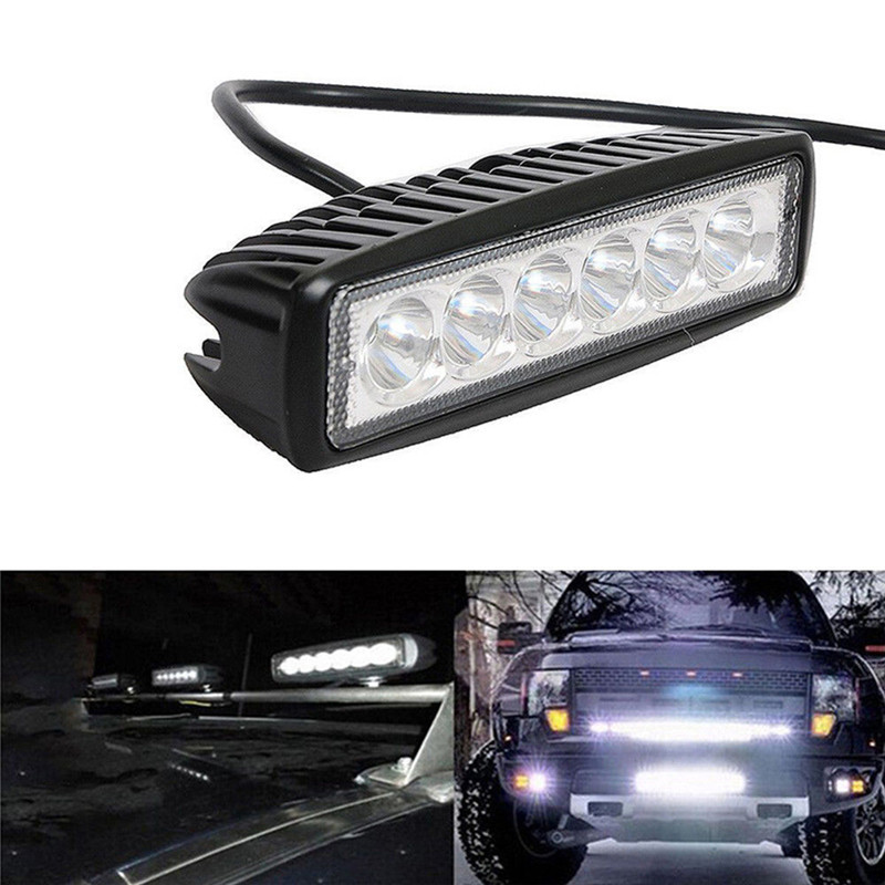 18W 12V LED Universal 4WD LED Beams Work Light Bar Spotlight Flood Lamp Driving Fog Offroad LED Work Light