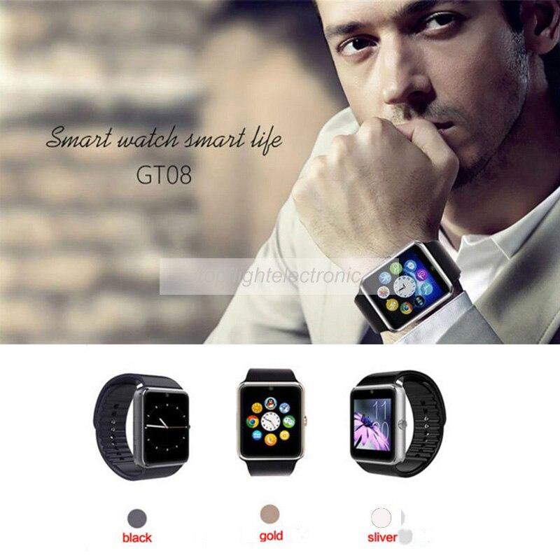 imágenes para GT08 Notificador Bluetooth Reloj Elegante Reloj de Sincronización Apoyo Portátil Tarjeta SIM Reloj Teléfono para El Iphone Samsung Huawei Android y IOS