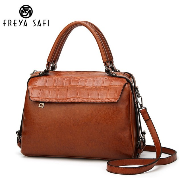 Freya Safi Brand Women s Casual Handbags Pu Leather Shoulder Bag Ladies  Messenger Bag High Quality Boston bag Top-handle Bag 4d0d4c4bf41d0