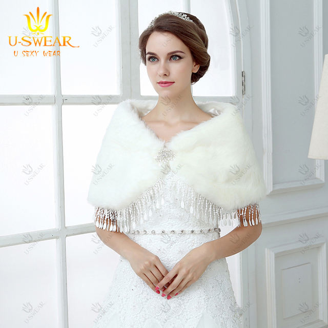 Bridal Shrug Coprispalle Wedding White Faux Fur Coat For Bolero Lace Cape Jaquetapj91