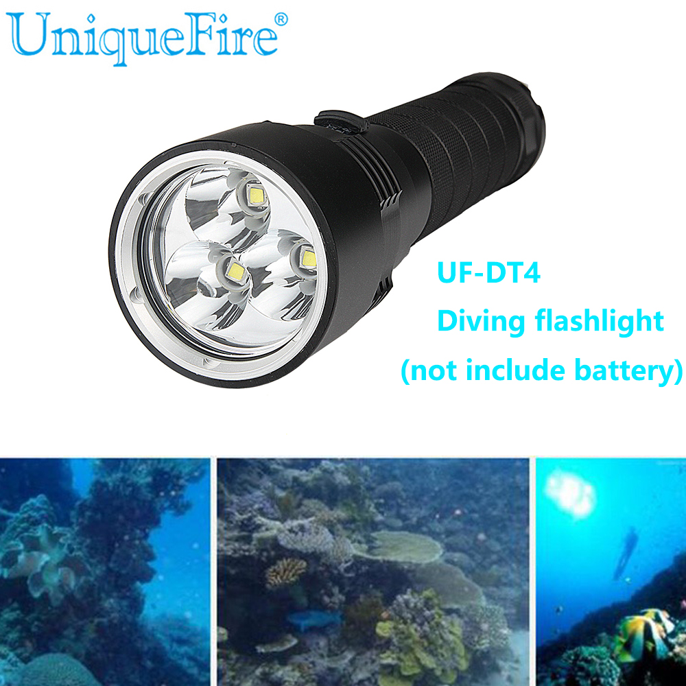 UniqueFire Diving 18650 LED Flashlight Underwater Led Light DT4 3*XML2  Waterproof 18650 Flash Light Lamp Torch Free Shipping 5x xml l2 12000lm led waterproof diving flashlight magswitch diving torch lantern led flash light 2x18650 battery charger