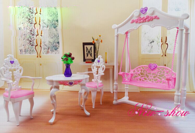 Backyard Swing Tea Desk Chair Set / dollhouse furnishings Faux Play Equipment ornament for Barbie kurhn doll Toy