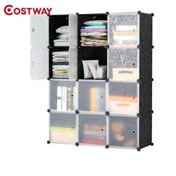 COSTWAY 12-сетки DIY Портативный просто складывая шкаф Собравшиеся смолы пластиковый шкаф для хранения Организатор W0243