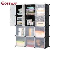COSTWAY 12 сетки DIY Портативный просто складывая шкаф Собравшиеся смолы пластиковый шкаф для хранения Организатор W0243