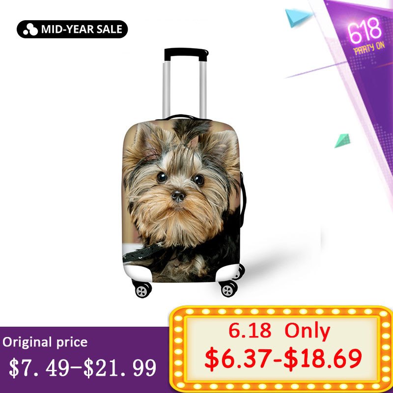 Elviswords Thick Elastic Luggage Suitcase Cover Apply To 18 30 Inch Cases 3d Yorkies Dog Trolley Case Covers Travel Acessories