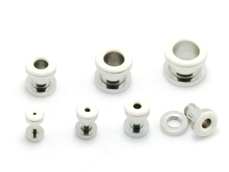 screw fit flesh tunnel ear gauges body piercing jewelry stainless steel ear plugs white oil drip color stretcher lot mix