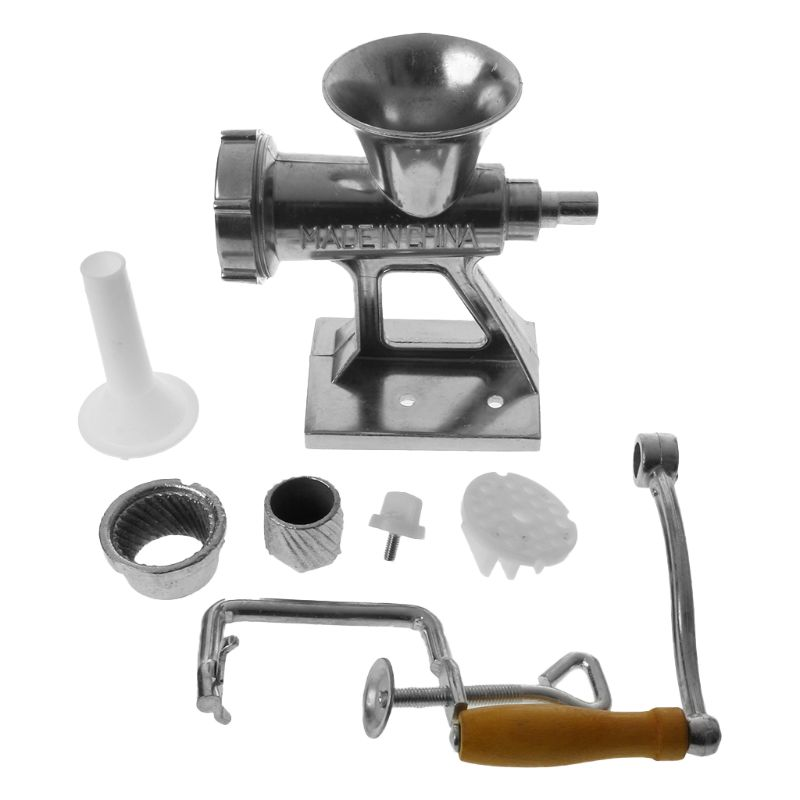 Aluminium Alloy Manual Meat Grinder Mincer Multifunctional Sausage Stuffer Machine Table Hand Crank ChopperAluminium Alloy Manual Meat Grinder Mincer Multifunctional Sausage Stuffer Machine Table Hand Crank Chopper