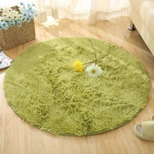 Long Hairy Round Floor Mats Fluffy Bathroom Carpets Solid Color Bath Mat Living Room Rugs Sofa Area Tatami Computer Chair Pad
