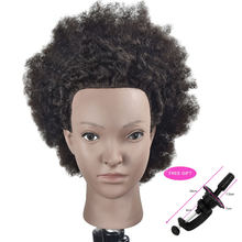 "10"" Afro Training Head Mannequin With 100% Human Hair Braiding Hair Training Head for Barber Black Man salon Hairdressing Heads(China)"