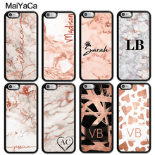 MaiYaCa PERSONALISED ROSE GOLD MARBLE INITIALS NAME CUSTOM Case For iphone 11 Pro MAX X XR XS 6 6S 7 8 Plus 5 5S TPU Cover