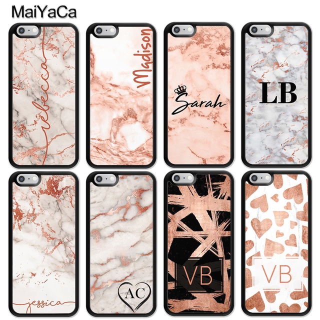 buy popular 97f0b 9d0b9 US $2.35 5% OFF|MaiYaCa PERSONALISED ROSE GOLD MARBLE INITIALS NAME CUSTOM  Soft Phone Cases For iPhone 6S 7 8 Plus X XR XS MAX Back Cover Coque-in ...
