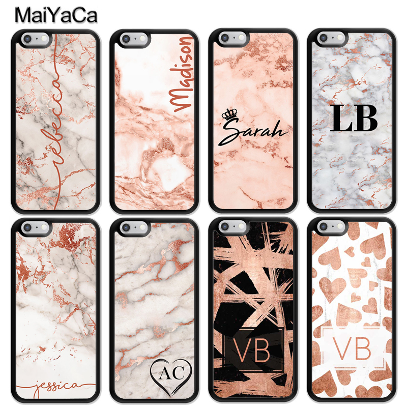 Galleria fotografica MaiYaCa PERSONALISED ROSE GOLD MARBLE INITIALS NAME CUSTOM Soft TPU Phone Cases For iPhone 6 6S 7 8 Plus X 5 SE Back Cover Coque