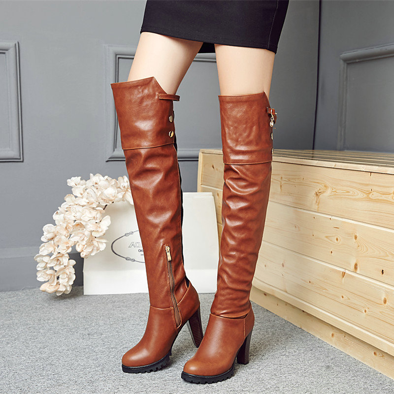 Ladies Pu Leather Knee High Boots Square High Heel Fashion Boots Platform Zipper Winter Women Shoes