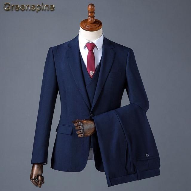 (Chaqueta + Pantalones + chaleco) de lujo de los hombres traje de boda traje 9d81935745e9