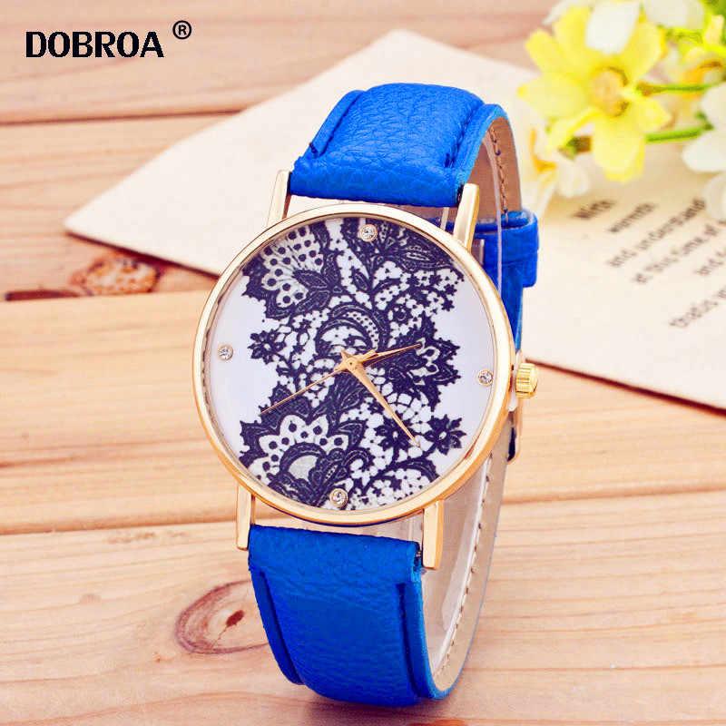 DOBROA Reloj Orologi דונה ססגוניות Curren זמן נשים שעונים זהב תחרה שחור פרח אופנה קוורץ שעון גבירותיי מקרית שעון