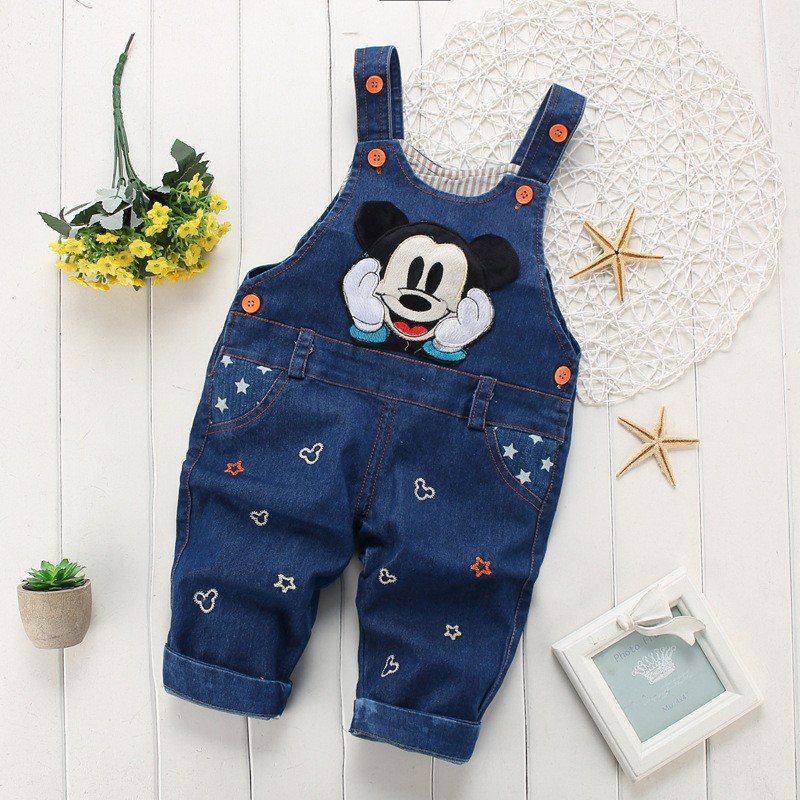 BibiCola spring autumn leisure braces Pants Baby Girls bib pants children Denim Overall Trousers kids cartoon infant jeans