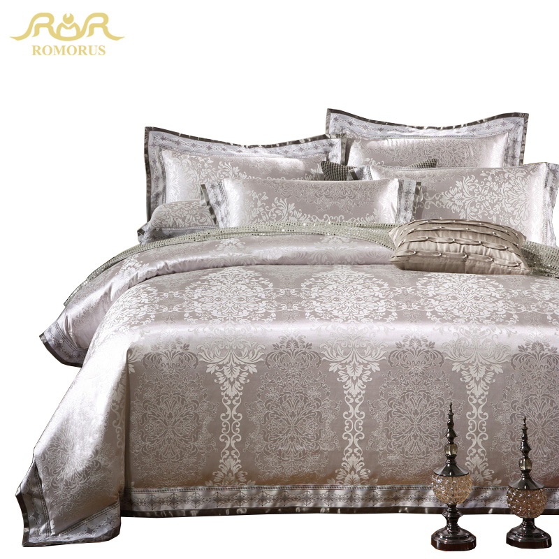 ROMORUS 4/6 pcs Silver Grey Luxury Duvet Cover Set 100% Cotton High Quality Satin Jacquard King Queen Size Wedding Bedding...  jacquard bedding set 7 pieces | Northern Nights Jacquard Reversible 6 or 7 Piece Comforter Set on QVC ROMORUS 4 6 pcs Silver Grey Luxury Duvet Cover font b Set b font 100 Cotton
