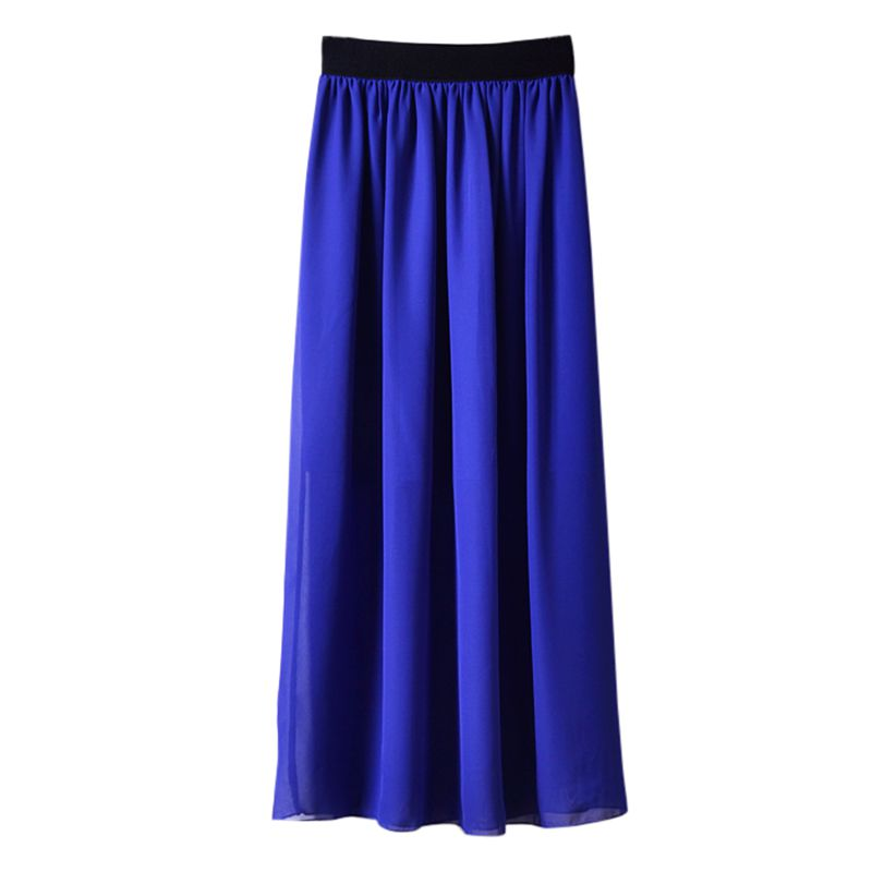 Womens Fashion Elastic Waist Long Skirt  Solid Double Layer Chiffon Pleated Skirts Lady High Waist Skirt Female Clothing