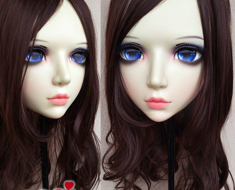 Boys Costume Accessories Costumes & Accessories gl085 Sweet Girl Resin Half Head Bjd Kigurumi Mask With Eyes Cosplay Anime Role Lolita Mask Crossdress Doll