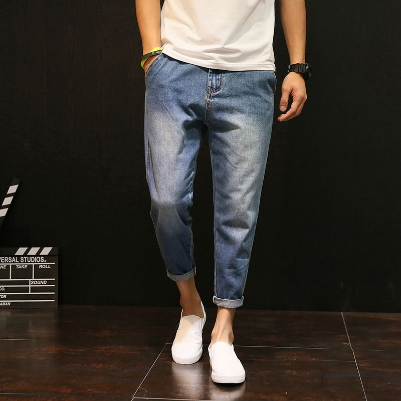 2017 Men Fashion Denim Harem Pants Tide brand Big Yards Feet thin jeans Men drop crotch Denim Sweatpants baggy Joggers 051109