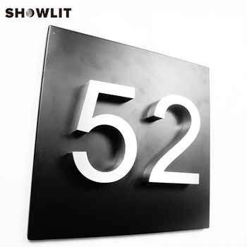 HOUSE NUMBERS VERTICAL MODERN ADDRESS PLAQUE BLACK METAL SIZE OPTIONS CUSTOM MADE