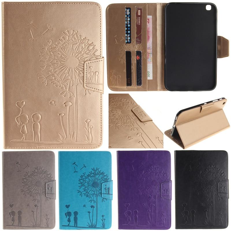 Cute Cartoon Dandelion Lovers Printing Design Stand Flip Leather Case For Samsung Galaxy Tab 3 8