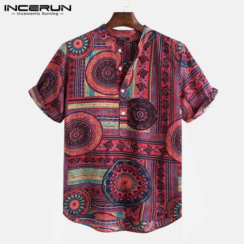 Camiseta estampada de estilo étnico INCERUN para hombre, camisetas de manga corta con cuello alto, camisas hawaianas casuales para hombres 2019, ropa de calle, Blusa Masculina