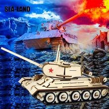 Educational Puzzle Toy Wooden 3D Puzzles Military T-34 Tank Children Toys 146 Pcs DIY High Quality Wood Gift For