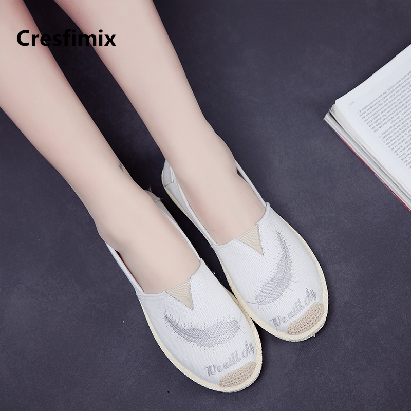 Cresfimix zapatos de mujer women casual white canvas slip on flat shoes lady comfortable cartoon light weight leisure shoes a736Cresfimix zapatos de mujer women casual white canvas slip on flat shoes lady comfortable cartoon light weight leisure shoes a736