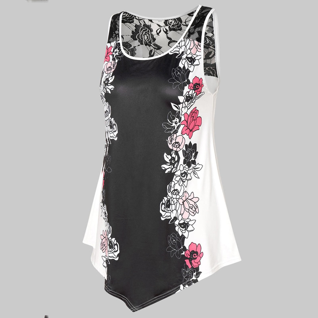 Plus Size Womens Sleeveless Lace Panel Floral Print Tank Top Casual Blouse NEW