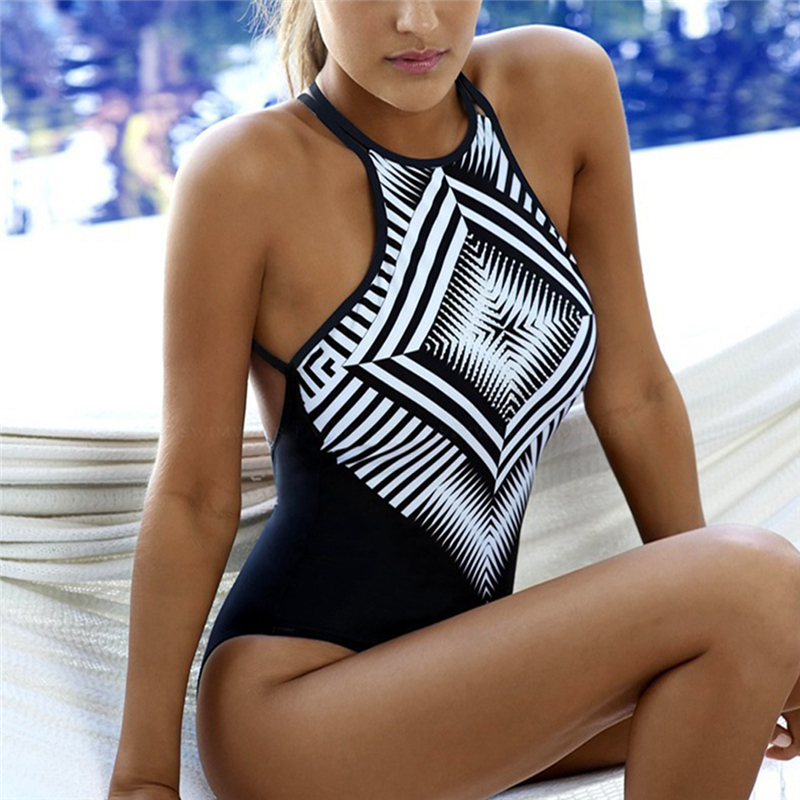 THINKTHENDO Sexy One-piece Suit Women Swimsuit Print Swimwear Bathing Push-up Padded Bikini