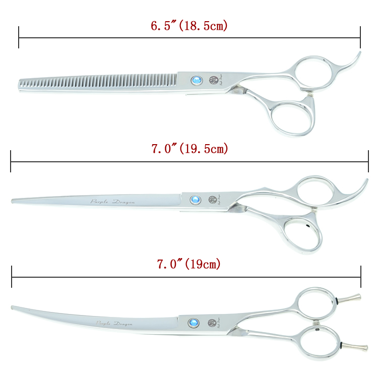 Купить с кэшбэком Purple Dragon 7 inch High Quality Pet Grooming Scissors Set  Dogs Cutting Thinning Curved Shears Puppy Cat Clippers LZS0377