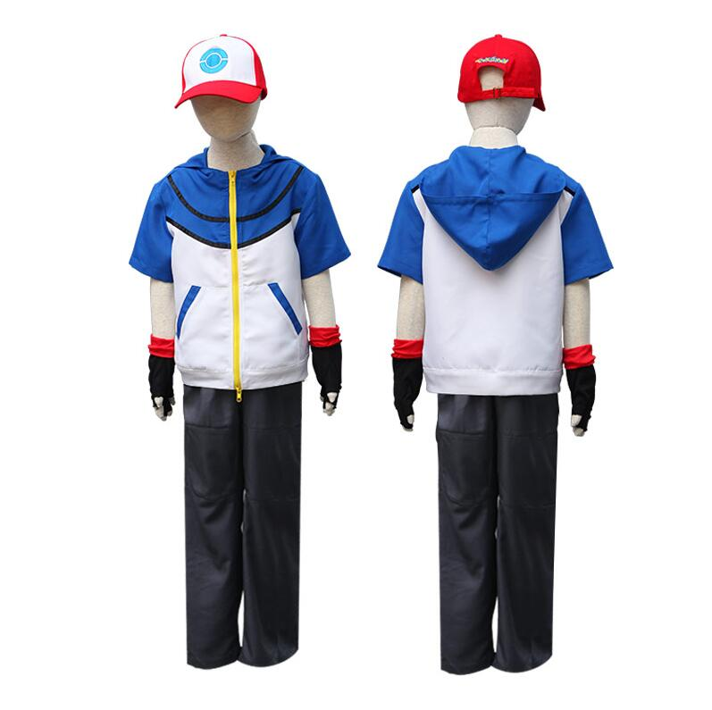 Adult child Quality Pokemon Ash Ketchum Cosplay Costume Hoodies Pants Gloves Hat Ash Ketchum Halloween Costumes