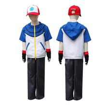 Adult child Quality Pokemon Ash Ketchum Cosplay Costume Hoodies + Pants Gloves Hat Halloween Costumes