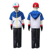 Adult child Quality Pokemon Ash Ketchum Cosplay Costume Hoodies + Pants + Gloves + Hat Ash Ketchum Halloween Costumes стоимость
