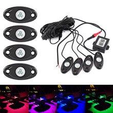 1 Компл. RGB LED Фары Рок Нескольких цветов Атмосфера Красочные Лампа Беспроводная Связь Bluetooth Музыка Мигающий Автомобилей Стайлинга Автомобилей