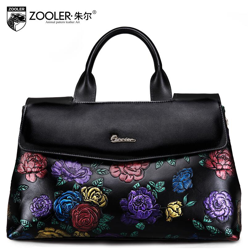 free delivery   2017 new cowhide embossed pillow bag Large capacity rose pattern handbag Shoulder Messenger Bag
