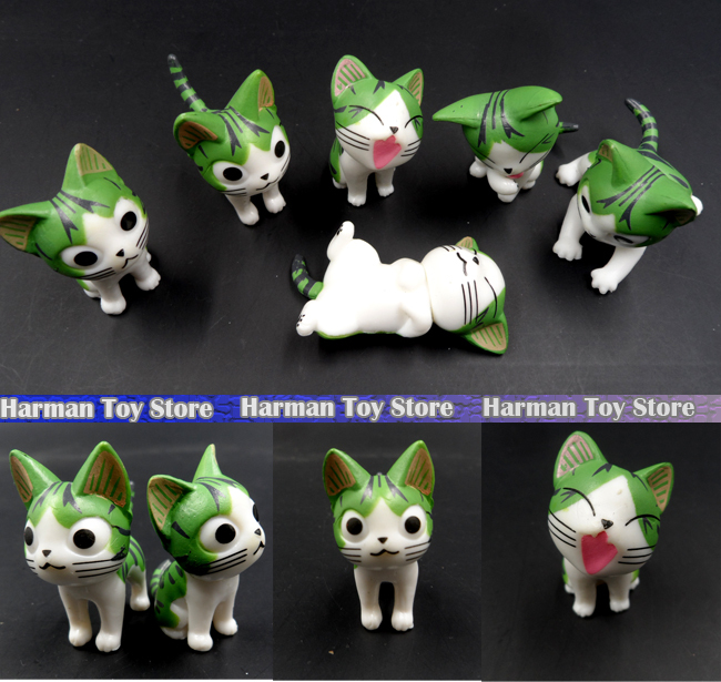 3set/Lot 2015 Green New 4-5cm kawaii pvc Japanese anime figures chi's sweet home cat action figure set best kids toys for girls. image