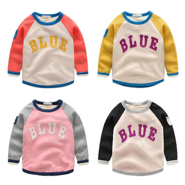 Bebé de terciopelo t-shirt sudadera hijo varón superior básico de la camisa 2016 de los niños clothing jersey niño prendas de vestir exteriores